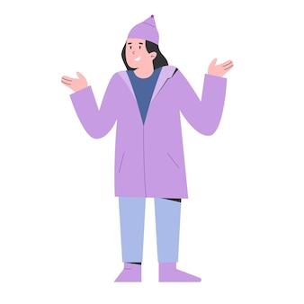 Jeune fille portant un manteau de pluie avec illustration d'expression de sourire