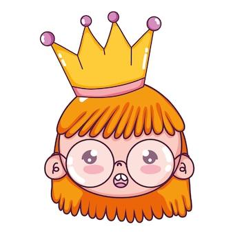 Jeune fille, porter, lunettes, à, couronne, et, coiffure