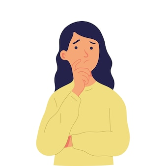 Jeune fille pose un doigt sur son menton, lève les yeux et réfléchit