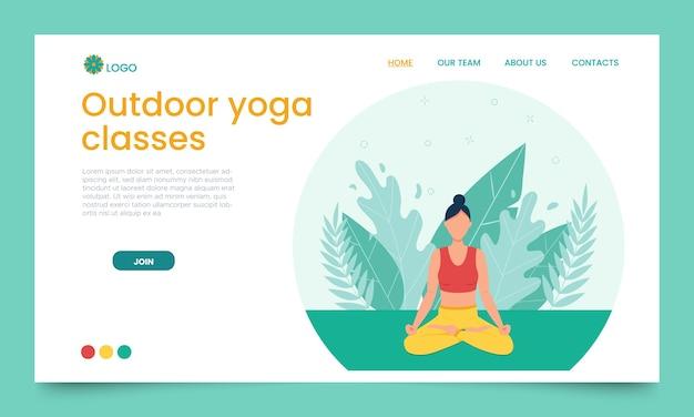 La jeune fille pratique le yoga en plein air. modèle de page de destination.