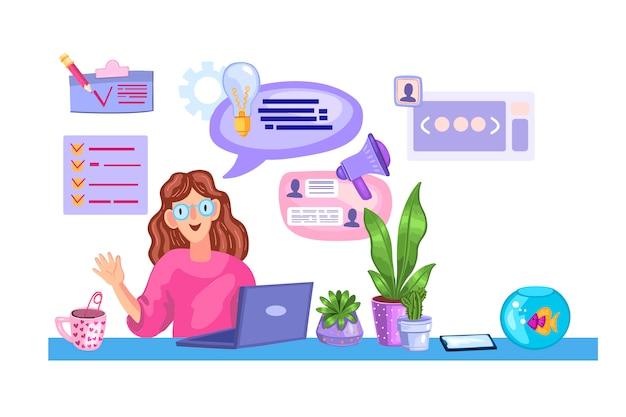 Jeune fille réfléchie assise sur son lieu de travail près de l'ordinateur portable et des plantes d'intérieur.