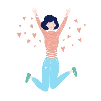 Jeune fille sautant de bonheur. sauter fille avec des coeurs.