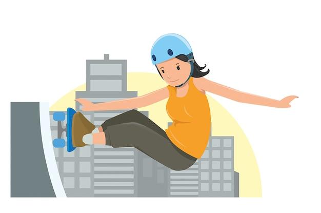 Jeune fille sautant sur sa planche à roulettes dans un style vecteur plat