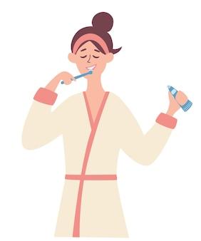 Jeune fille se brosser les dents. les femmes après une douche du matin ou du soir se brossent les dents. hygiène courante. bonnes habitudes. le concept d'un mode de vie sain et de prendre soin de votre corps. vecteur