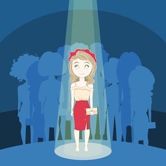 Jeune fille se démarquer de la foule en pleine lumière sur la silhouette du groupe de personnes