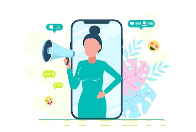 Une jeune fille se tient à côté d'un énorme smartphone et utilise ses propres smartphones avec des éléments de réseaux sociaux et des icônes emoji en arrière-plan.