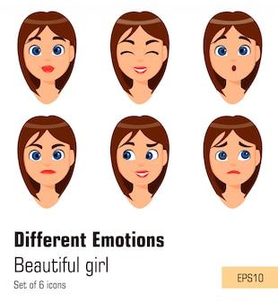Jeune fille séduisante avec diverses émotions