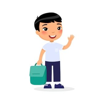 Jeune fille tenant un personnage de dessin animé de sac à dos isolé. élève du primaire à la rentrée.