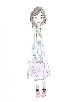 Jeune fille tenant des sacs à provisions dans les mains. croquis dessiné à la main. illustration, sur fond blanc.