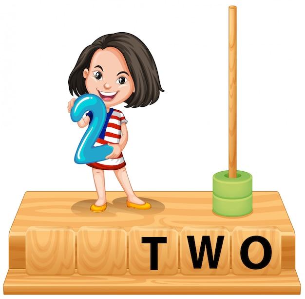 Jeune fille tenant scène numéro deux