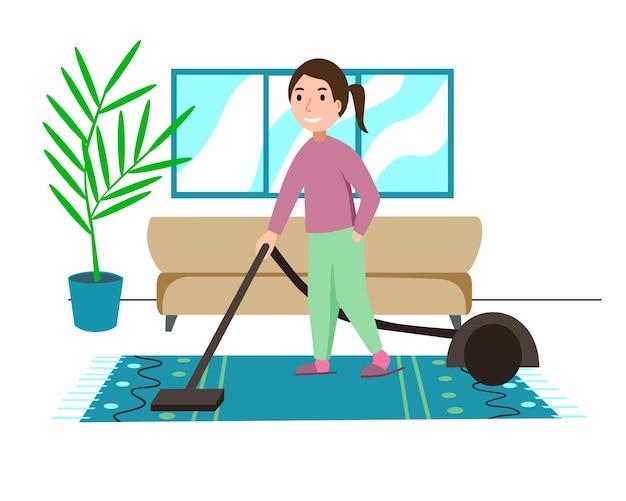 Une jeune fille tient un tuyau d'aspirateur électrique prêt à nettoyer la maison. illustration de vecteur de dessin animé de style plat coloré.