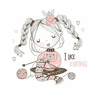 La jeune fille travaille à la couture en tricotant un foulard.
