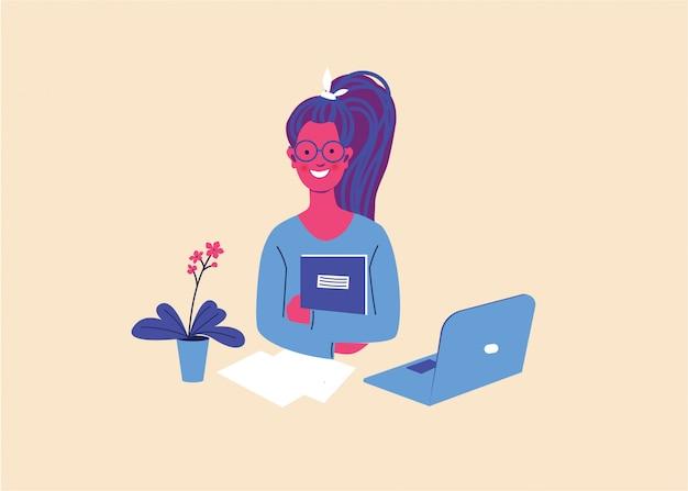 Jeune fille travaille sur un ordinateur dans un environnement familial confortable. bureau à domicile, travail à distance, indépendant, atmosphère paisible avec un ordinateur portable.