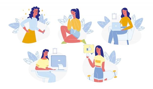 Jeune fille, utilisation, gadgets, ensemble, travail, fabrication, photo