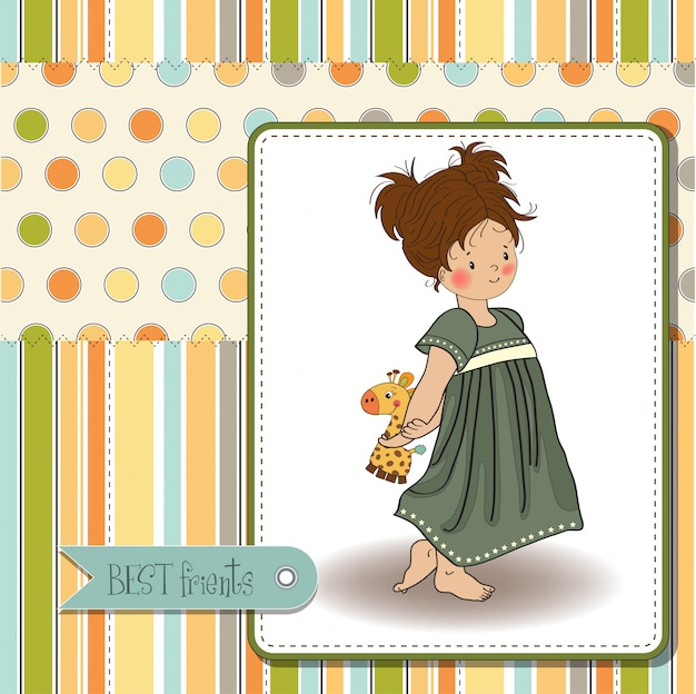 Jeune fille va au lit avec son jouet préféré, une girafe