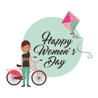 Jeune fille avec vélo et cerf-volant joyeux carte de fête des femmes