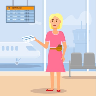 Jeune fille voyageant en avion. vol en attente.