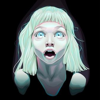 Jeune fille avec les yeux grands ouverts vector illustration