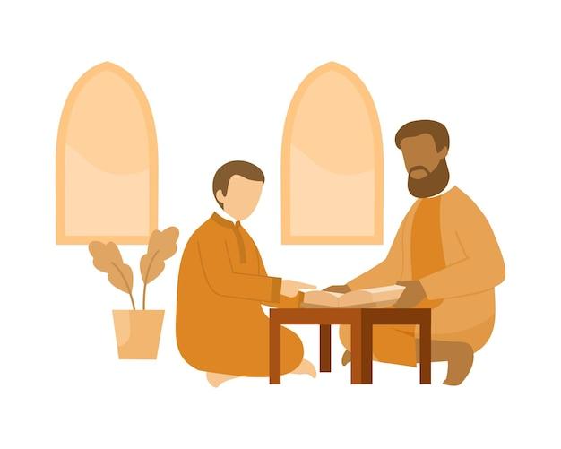Un jeune garçon apprend à lire le coran à un enseignant