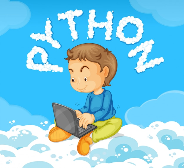 Jeune garçon sur le concept de python pour ordinateur portable