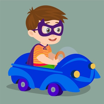 Jeune garçon conduisant la voiture
