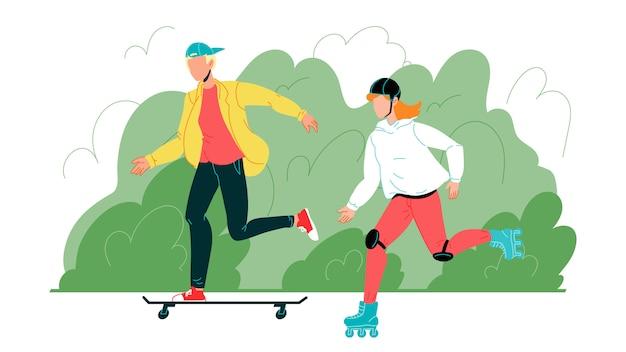 Jeune garçon et fille ont une activité sportive