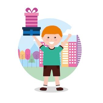Jeune garçon heureux tenant la boîte-cadeau dans les mains avec illustration vectorielle de ville fond