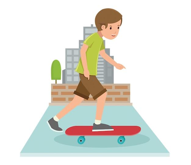 Jeune Garçon Jouant Skateboard Dans Un Style Vectoriel Plat Vecteur Premium