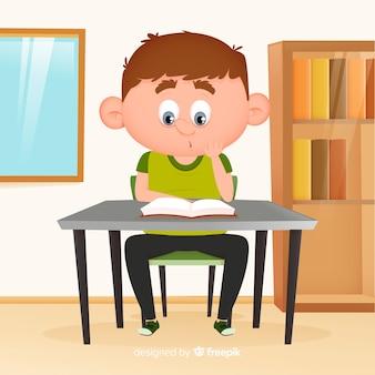 Jeune garçon lisant un design plat