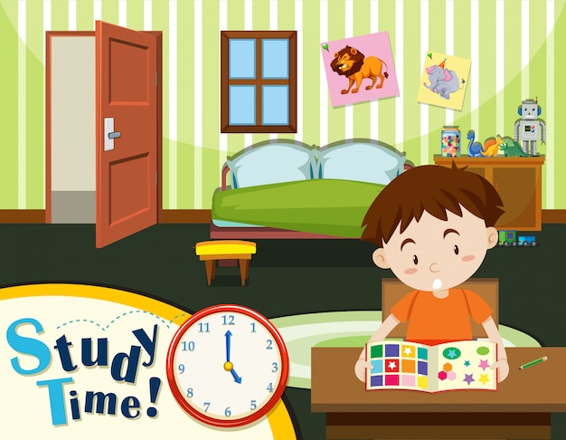 Jeune garçon temps d'étude