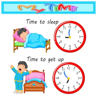 Jeune garçon le temps de se coucher et se réveiller