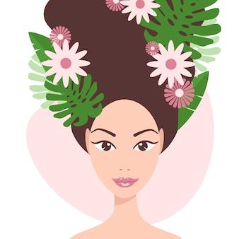 Jeune, girl, exotique, feuilles, fleurs, cheveux