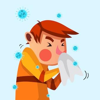 Jeune, grippe, éternuer, sien, tissu, illustration