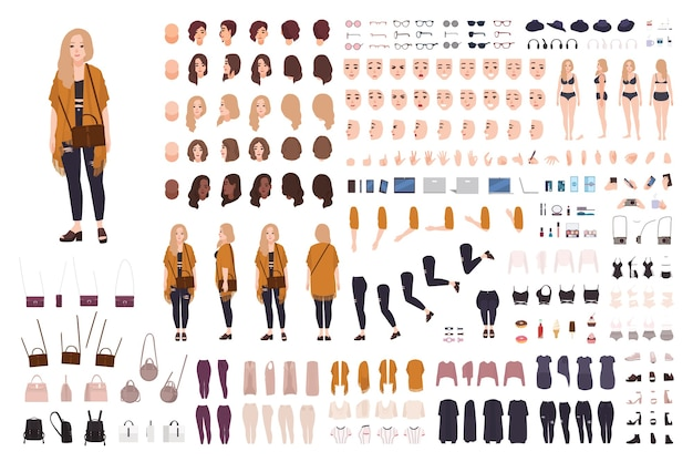 Jeune grosse femme sinueuse ou constructeur de fille de taille plus ou kit de bricolage.