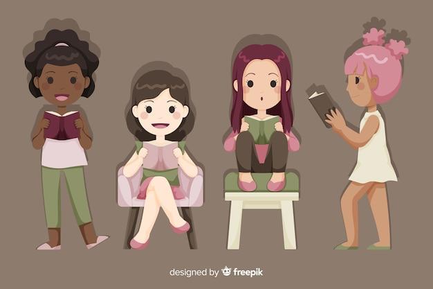 Jeune groupe de filles se détendre et lire