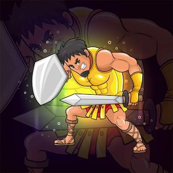 Le jeune guerrier avec le logo esport bouclier et épée de l'illustration