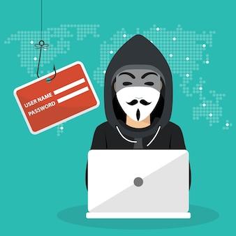 Jeune hacker utilisant un ordinateur portable pour pirater le système de protection
