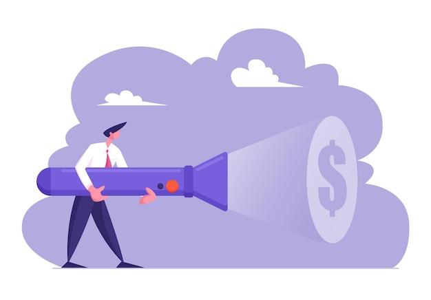 Jeune homme d'affaires en costume formel tenant une énorme lampe de poche éclairant le signe du dollar
