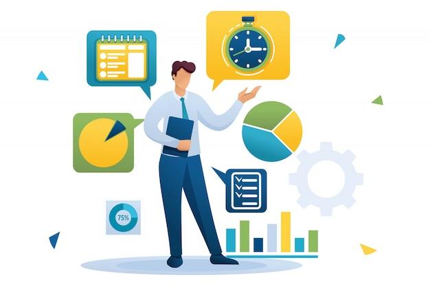 Jeune homme d'affaires est engagé dans la gestion du temps. répartition des tâches. caractère plat. concept pour la conception web