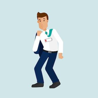 Un jeune homme d'affaires fatigué après le travail, a besoin de vacances, bourreau de travail, la batterie est morte, pas d'énergie. l'homme est fatigué après une longue journée de travail. illustration vectorielle dans un style plat.