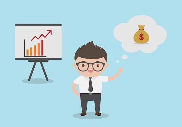Un jeune homme d'affaires avec un graphique de profit sur le tableau de conférence