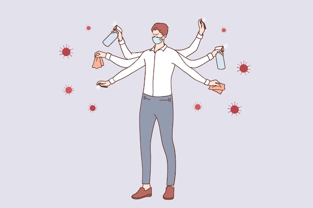 Jeune homme d'affaires en masque médical avec plusieurs mains se laver, désinfecter les mains et nettoyer les surfaces pour se protéger du coronavirus