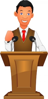 Jeune homme d'affaires parler au podium