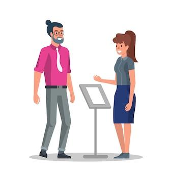 Jeune homme d'affaires à la réception vector plate dessin animé