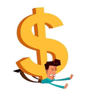 Jeune homme d'affaires se faire écraser par le dollar