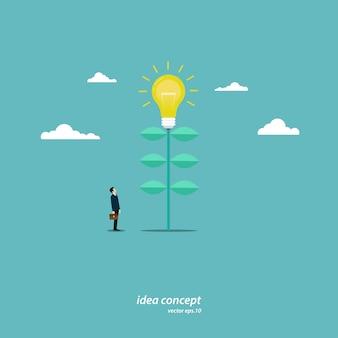 Un jeune homme d'affaires se tient à un arbre d'ampoule