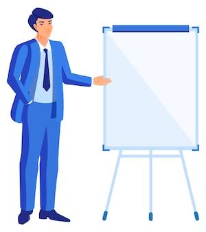 Jeune homme d'affaires se tient au flipchart et montre. illustration de plat de dessin animé isolé sur blanc
