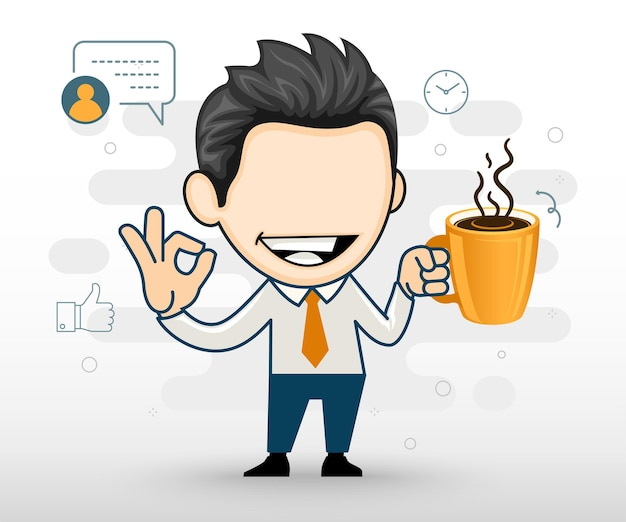 Jeune homme d'affaires tenant un café et montrant un geste ok illustration plate en style cartoon