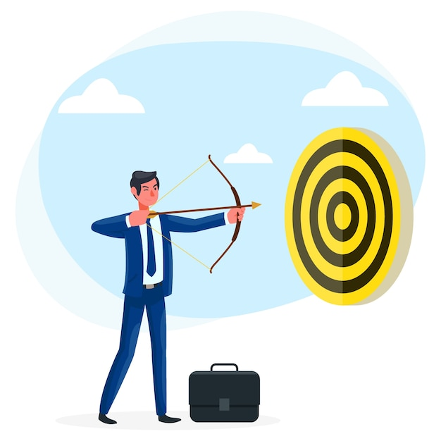 Un jeune homme d'affaires tente d'atteindre ses objectifs dans sa carrière actuelle