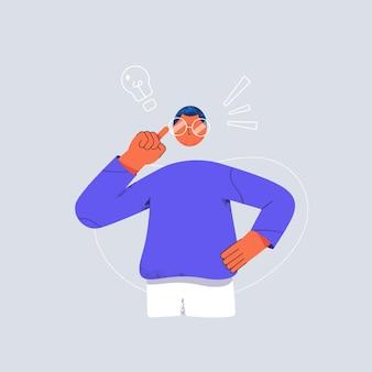 Jeune homme d'affaires touchant ses lunettes en pensant au concept de remue-méninges